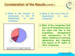 consideration of the results contd16