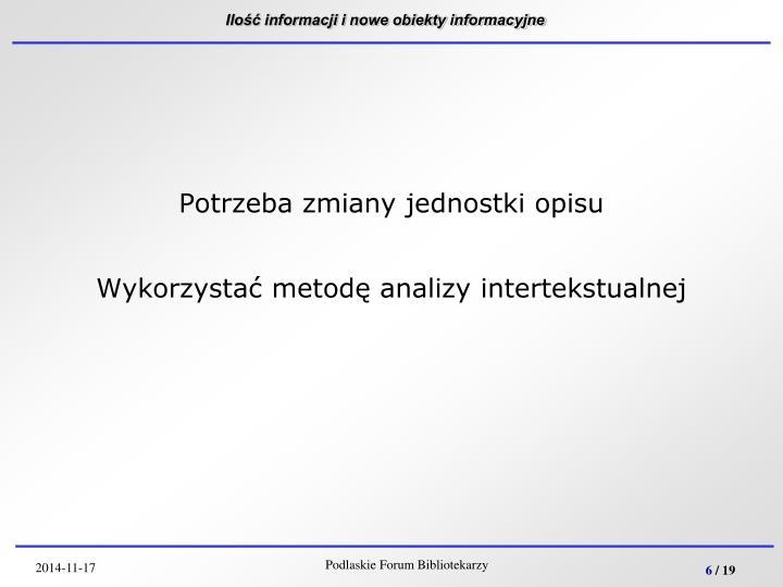 Ilość informacji i nowe obiekty informacyjne