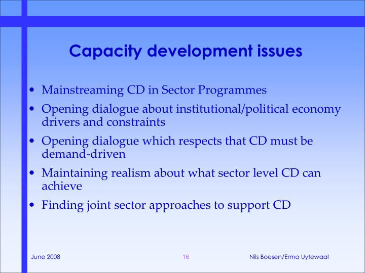 Capacity development issues