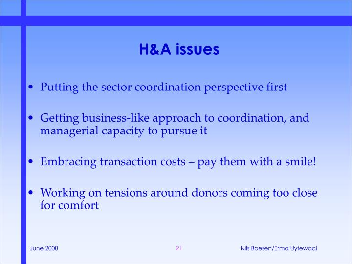 H&A issues