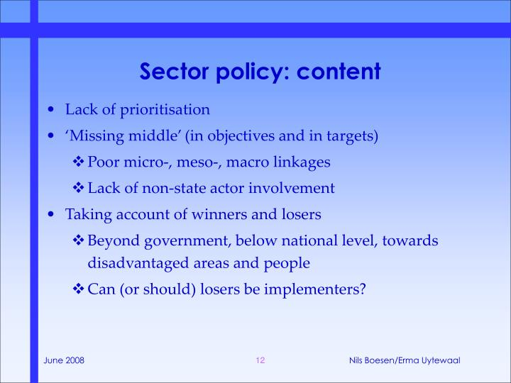 Sector policy: content
