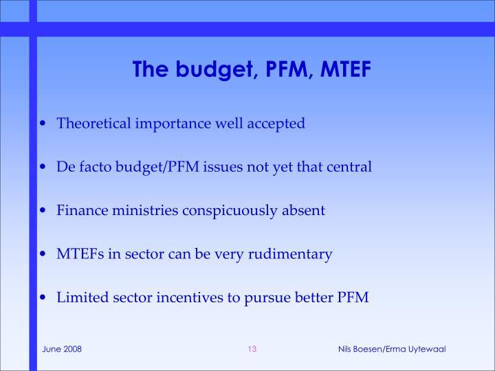 The budget, PFM, MTEF