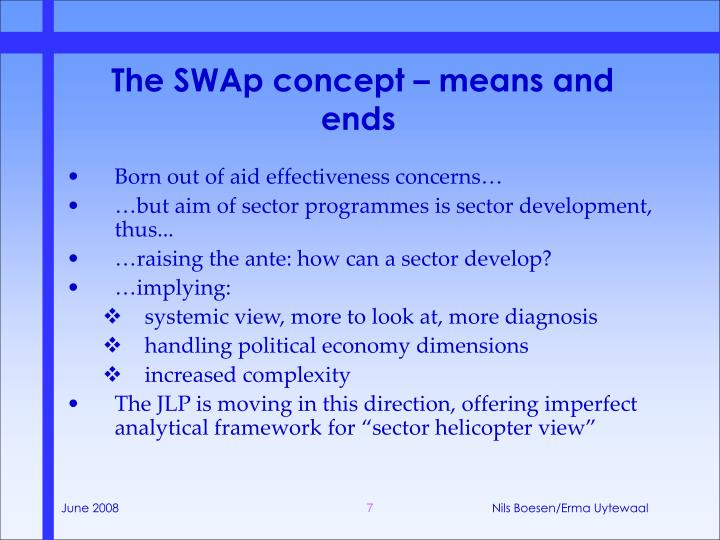 The SWAp concept – means and ends