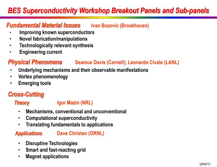 BES Superconductivity Workshop Breakout Panels and Sub-panels