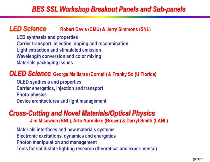 BES SSL Workshop Breakout Panels and Sub-panels
