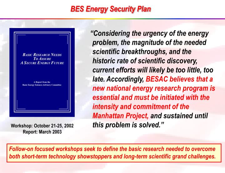 BES Energy Security Plan