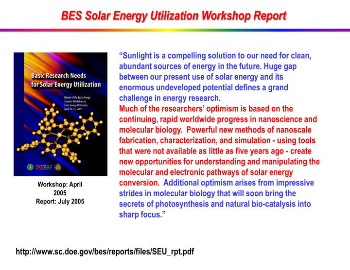 BES Solar Energy Utilization Workshop Report