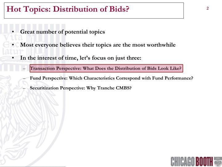 Hot Topics: Distribution of Bids?