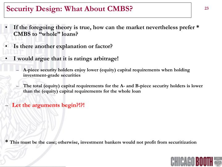 Security Design: What About CMBS?