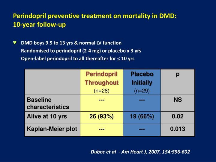 Perindopril preventive treatment on mortality in DMD: