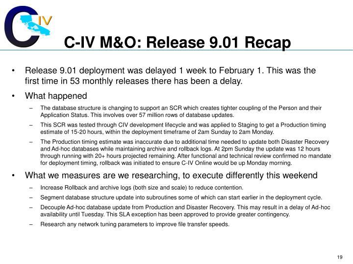 C-IV M&O: Release 9.01 Recap