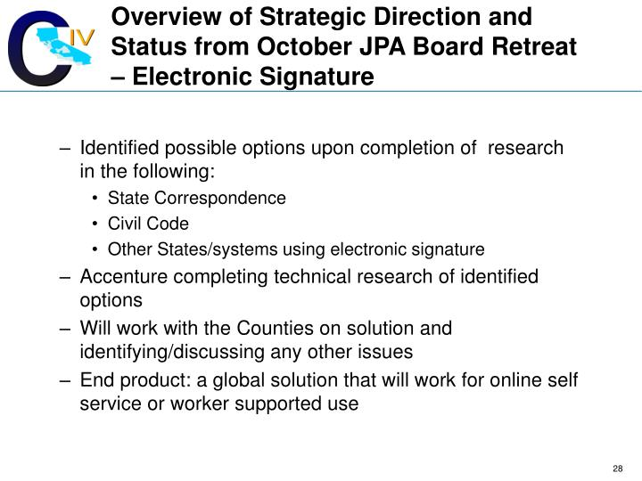 Overview of Strategic Direction and Status from October JPA Board Retreat – Electronic Signature