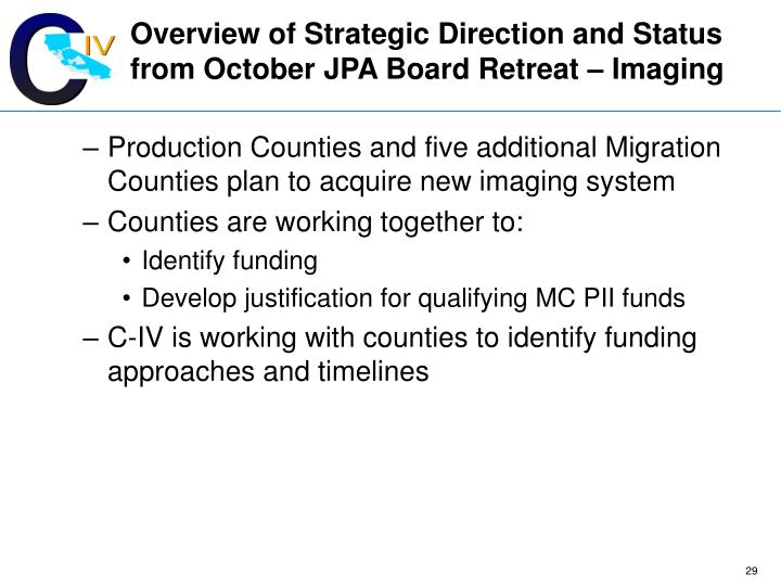 Overview of Strategic Direction and Status from October JPA Board Retreat – Imaging