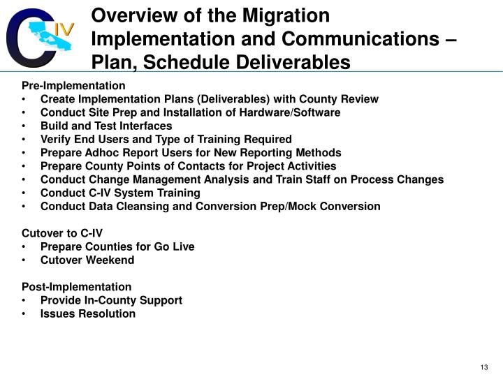 Overview of the Migration Implementation and Communications – Plan, Schedule Deliverables