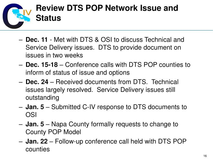 Review DTS POP Network Issue and Status