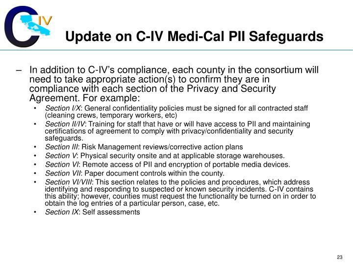 Update on C-IV Medi-Cal PII Safeguards