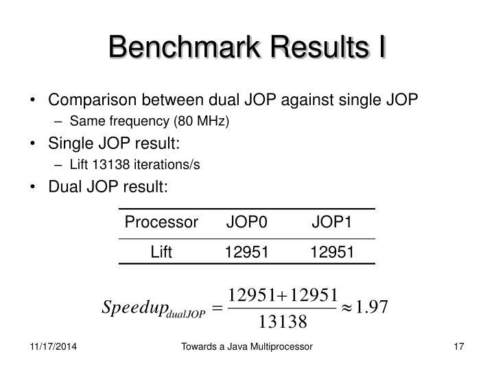 Benchmark Results I