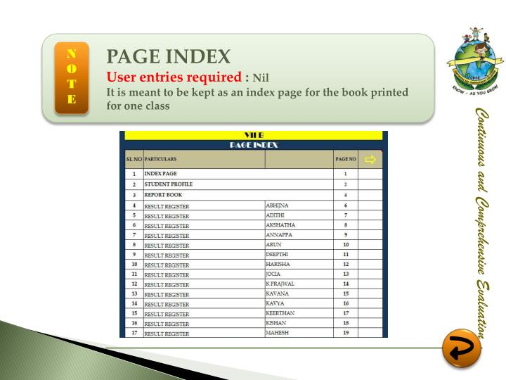 PAGE INDEX