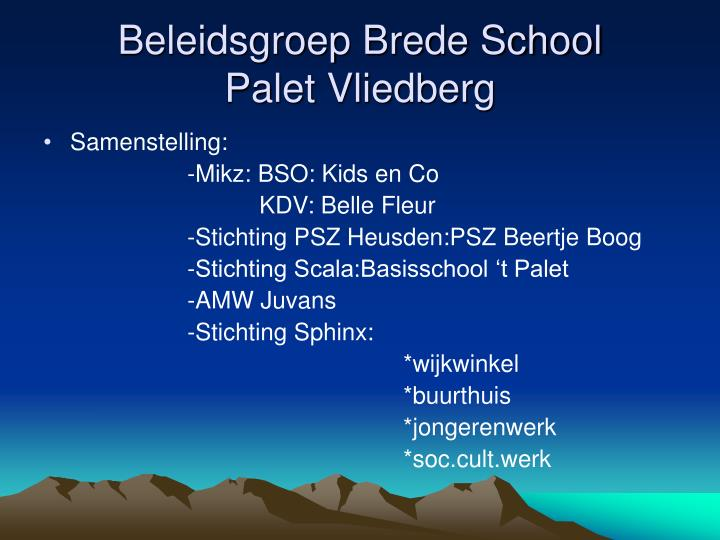 Beleidsgroep Brede School