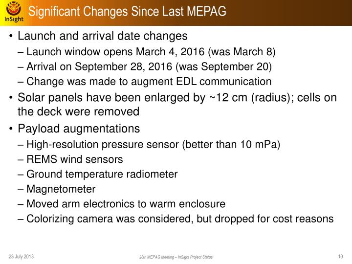 Significant Changes Since Last MEPAG