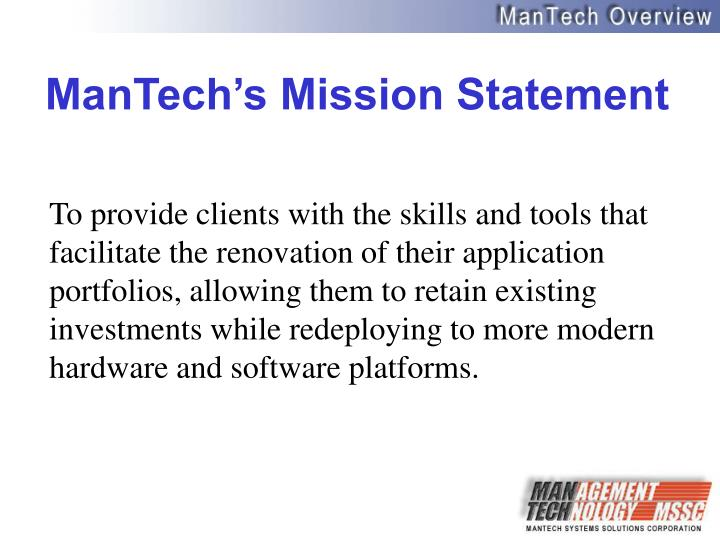 Mantech s mission statement