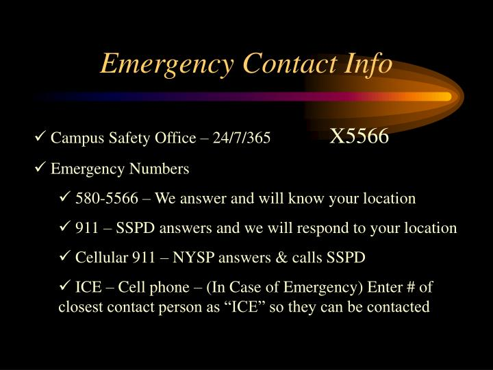 Emergency Contact Info