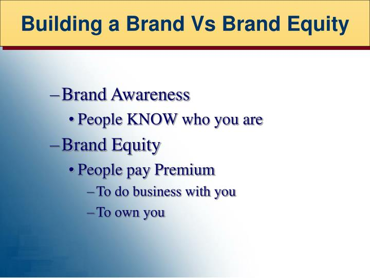 Building a Brand Vs Brand Equity