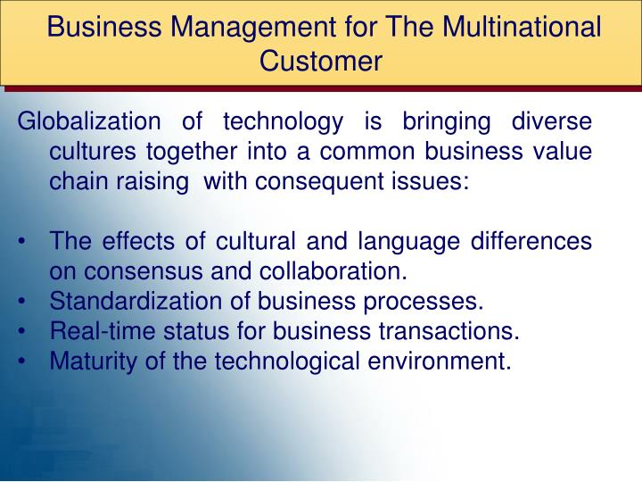 Business Management for The Multinational Customer