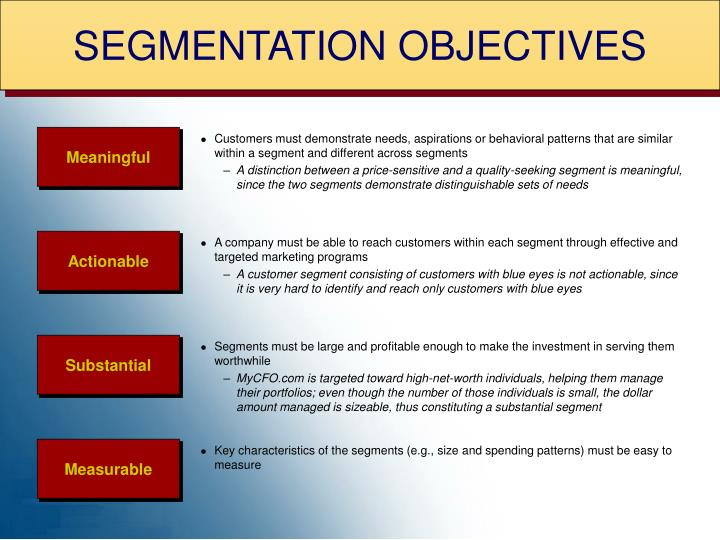 SEGMENTATION OBJECTIVES