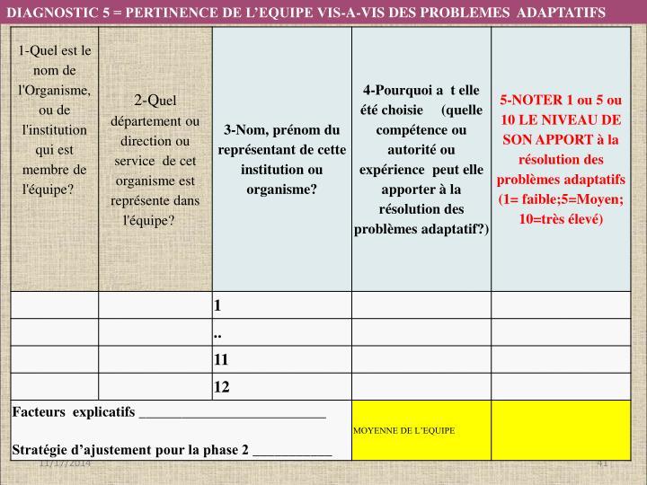 DIAGNOSTIC 5 = PERTINENCE DE L'EQUIPE VIS-A-VIS DES PROBLEMES  ADAPTATIFS