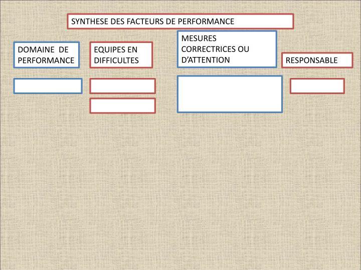 SYNTHESE DES FACTEURS DE PERFORMANCE