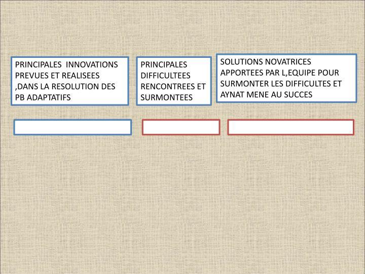 SOLUTIONS NOVATRICES APPORTEES PAR L,EQUIPE POUR SURMONTER LES DIFFICULTES ET AYNAT MENE AU SUCCES