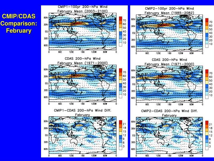CMIP/CDAS Comparison: February