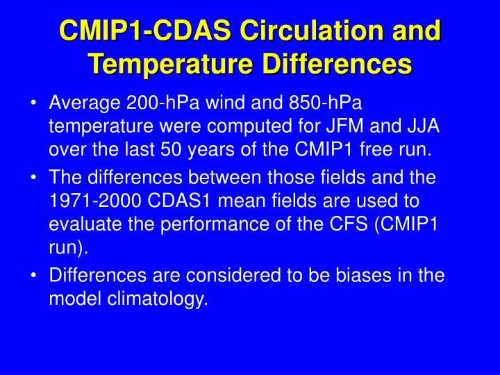 CMIP1-CDAS Circulation and Temperature Differences