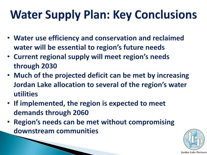 Water Supply Plan: Key Conclusions