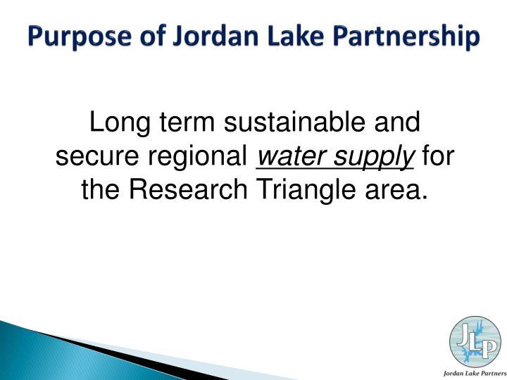 Purpose of Jordan Lake Partnership