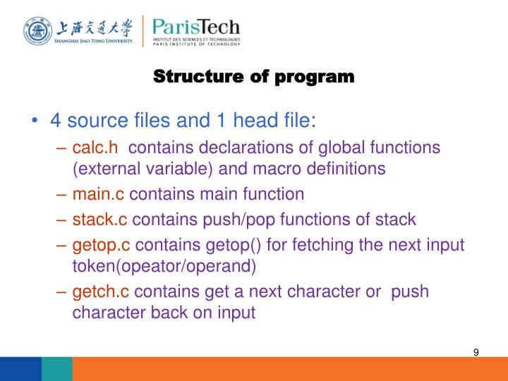Structure of program