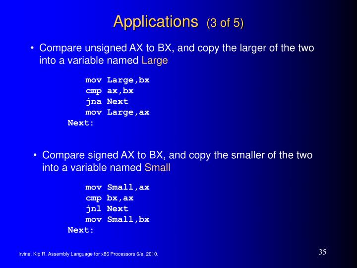 Compare unsigned AX to BX, and copy the larger of the two into a variable named