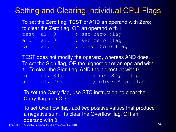 Setting and Clearing Individual CPU Flags