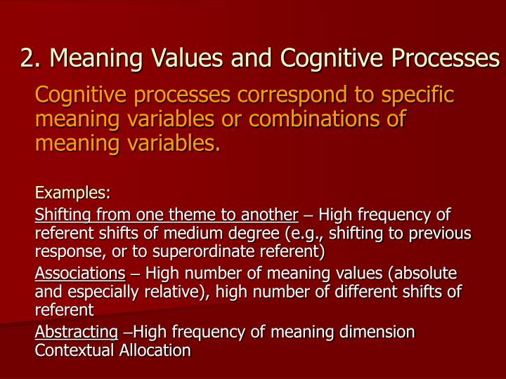 2. Meaning Values and Cognitive Processes