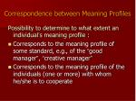 correspondence between meaning profiles