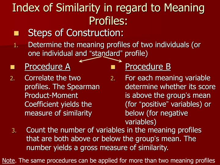 Index of Similarity in regard to Meaning Profiles: