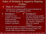 index of similarity in regard to meaning profiles