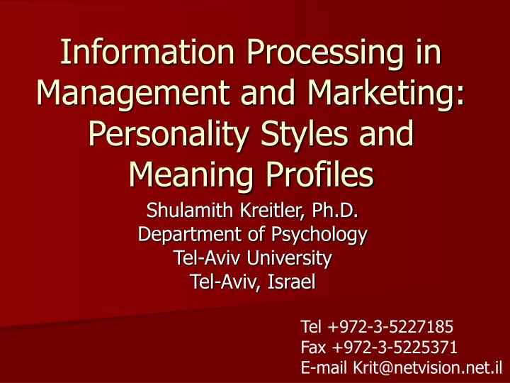Information Processing in Management and Marketing: