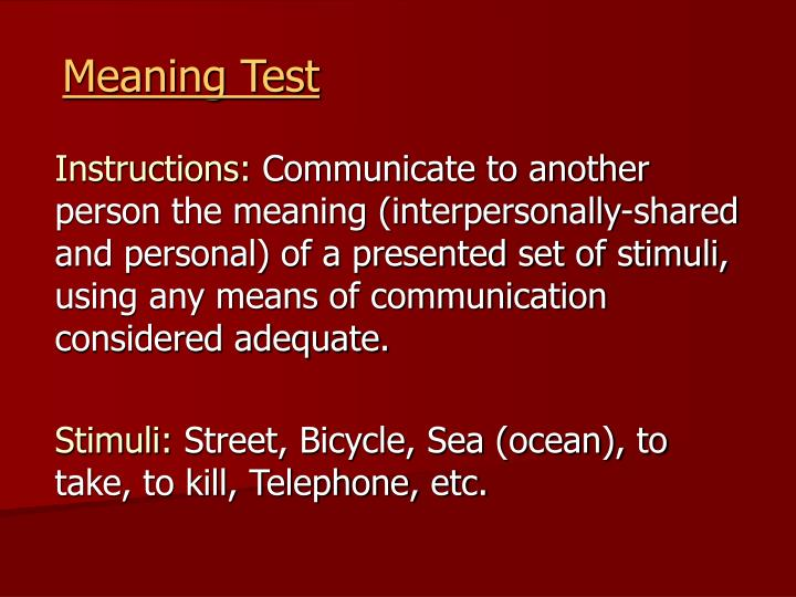 Meaning Test