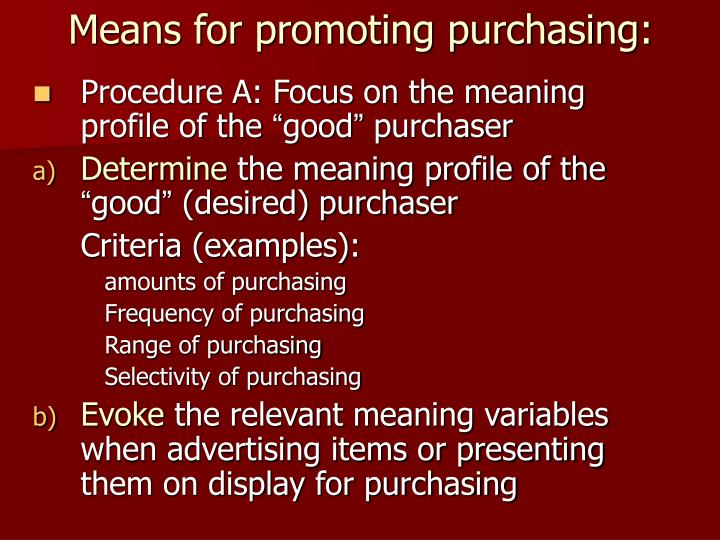 Means for promoting purchasing: