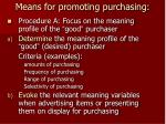 means for promoting purchasing