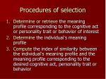 procedures of selection