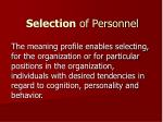 selection of personnel
