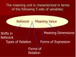 the meaning unit is characterized in terms of the following 5 sets of variables